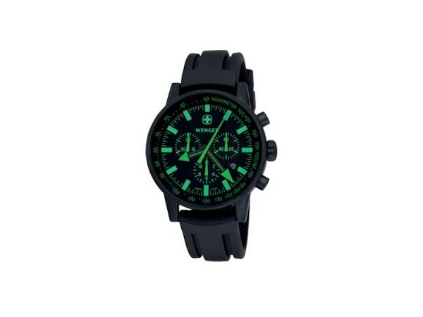 Watch - Wenger Stainless Steel Swiss Raid Commando Chronograph Watch with Black & Green Dial and Black Rubber Strap - 100 Meter Water Resistant