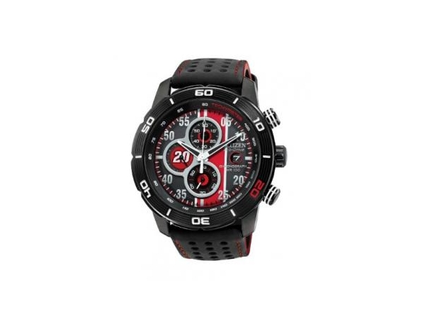Watch - Mens Citizen Primo Eco-Drive Matt Kenseth Limited Edition Chronograph Watch with Interchangeable Red & Black Polyurethane Strap - 100 Meter Water Resistant