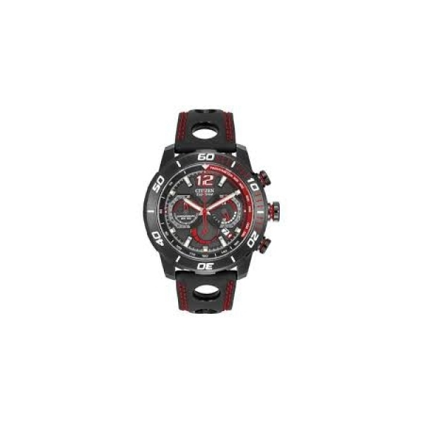 Watch - Mens Citizen Primo Eco-Drive Chronograph Watch with Red & Black Dial and Polyurethane Strap - 100 Meter Water Resistant