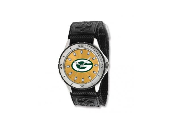 Watch - Mens Stainless Steel NFL Green Bay Packers Veteran Watch with Nylon Mesh Velcro Band - 3 Atm Water Resistance