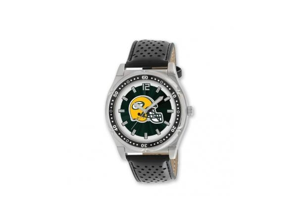 Watch - Mens Stainless Steel NFL Green Bay Packers Championship Watch with Black Leather Strap - 3 Atm Water Resistance