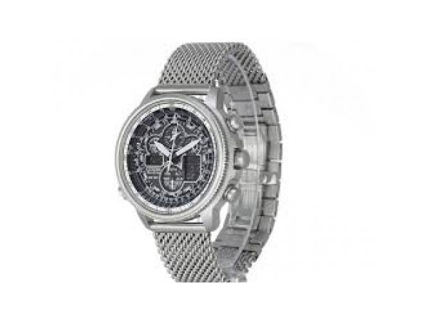 Watch - Mens Citizen Eco Drive Stainless Steel Chronograph Watch with Mesh Band and Gray Dial  -  Water Resistance