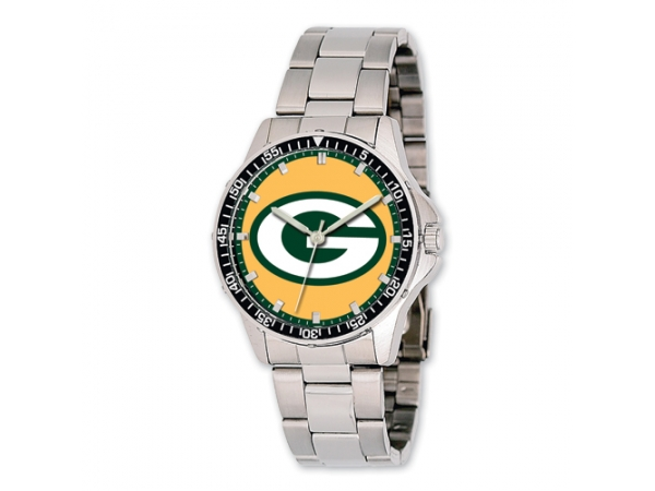 Watch - Mens Stainless Steel NFL Green Bay Packers Coach Watch with Stainless Steel Band - 3 Atm Water Resistance